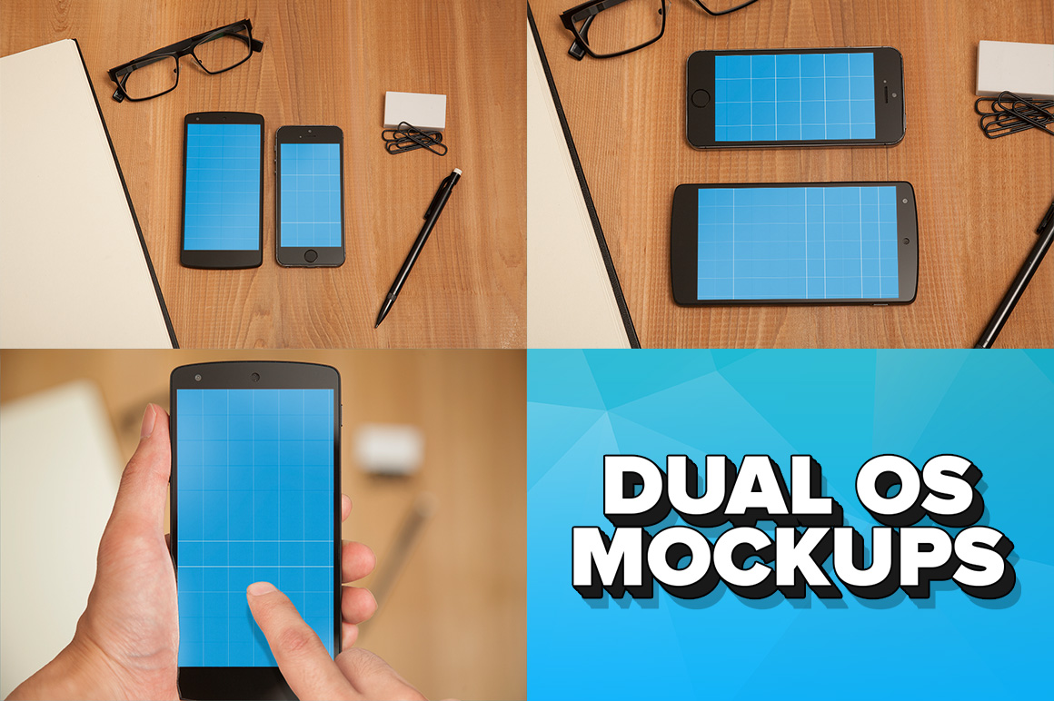 iPhone 5s and Nexus 5 Dual OS PSD Mockups by pstutorialsws