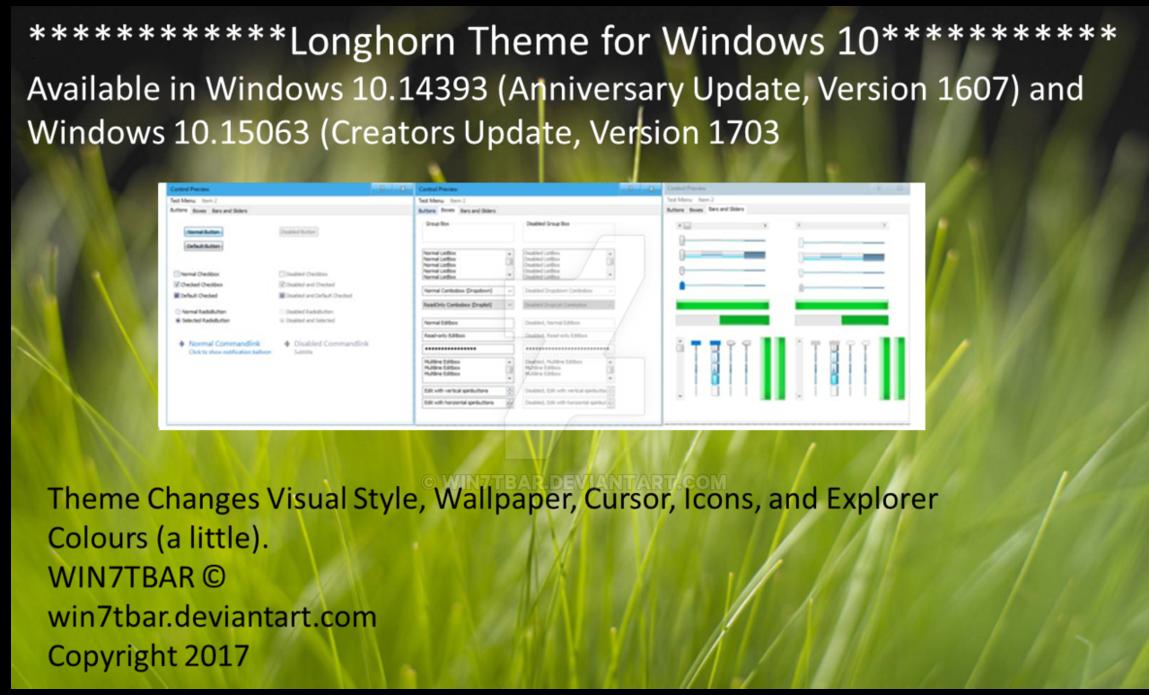 Longhorn Theme for Windows 10 by WIN7TBAR on DeviantArt