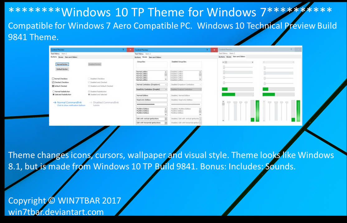 Windows 10 TP Theme for Windows 7 by WIN7TBAR on DeviantArt
