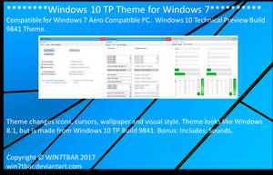 Windows 10 TP Theme for Windows 7 by WIN7TBAR