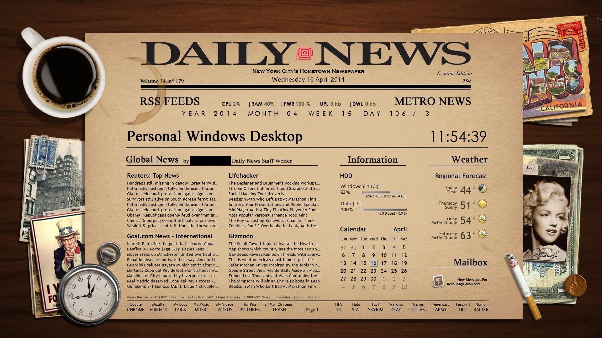 Newspaper Rainmeter Theme