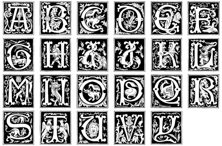 16th Century Alphabet + font by barefootliam-stock