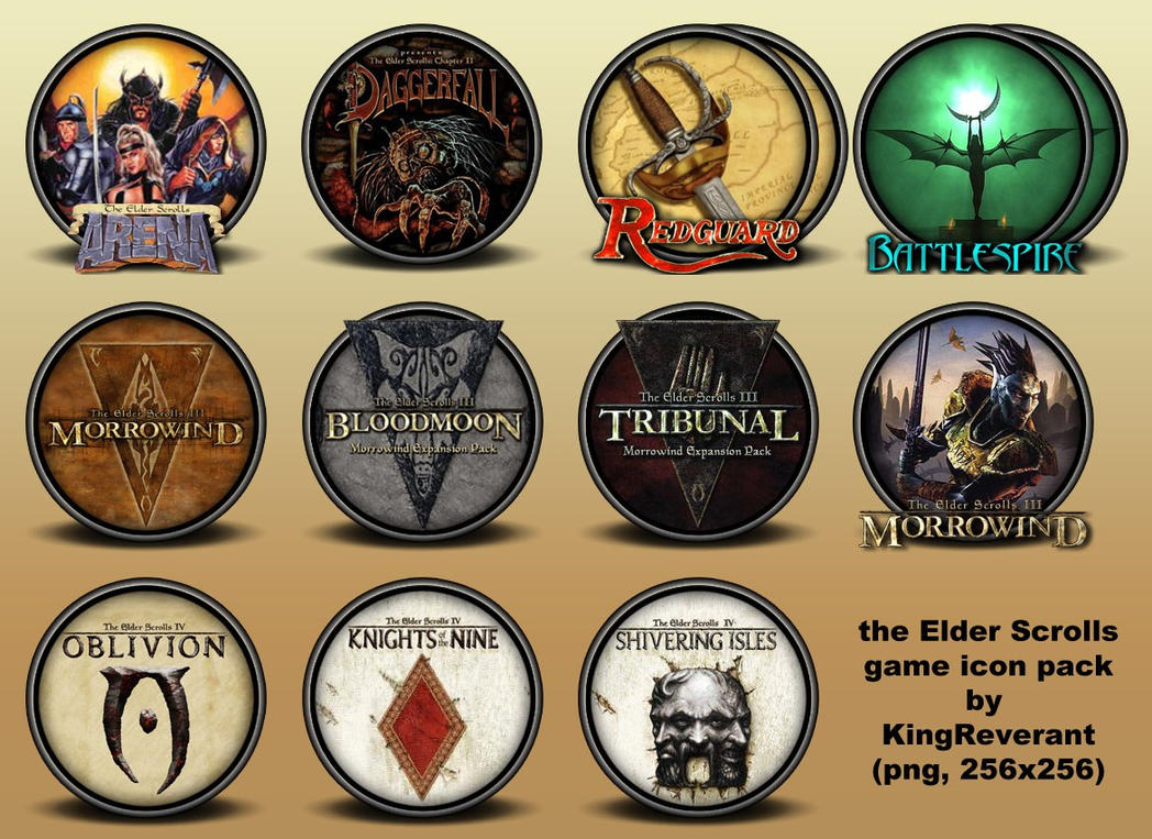 the elder scrolls series icons by kingreverant on deviantart