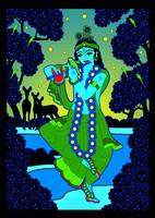 GIF - Shri Krishna at Yamuna river by Mohinipriya