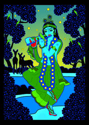GIF - Shri Krishna at Yamuna river by Mohinipriya