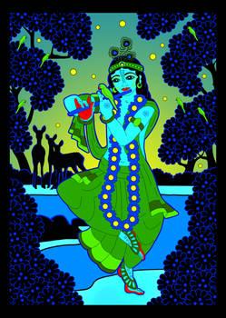 GIF - Shri Krishna at Yamuna river