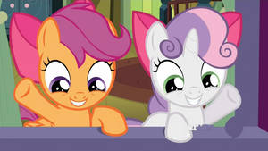 Sweetie Belle and Chicken Waving (animated GIF) by CorpulentBrony