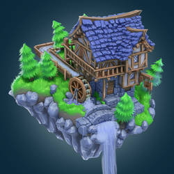 Isometric medieval house timelapse