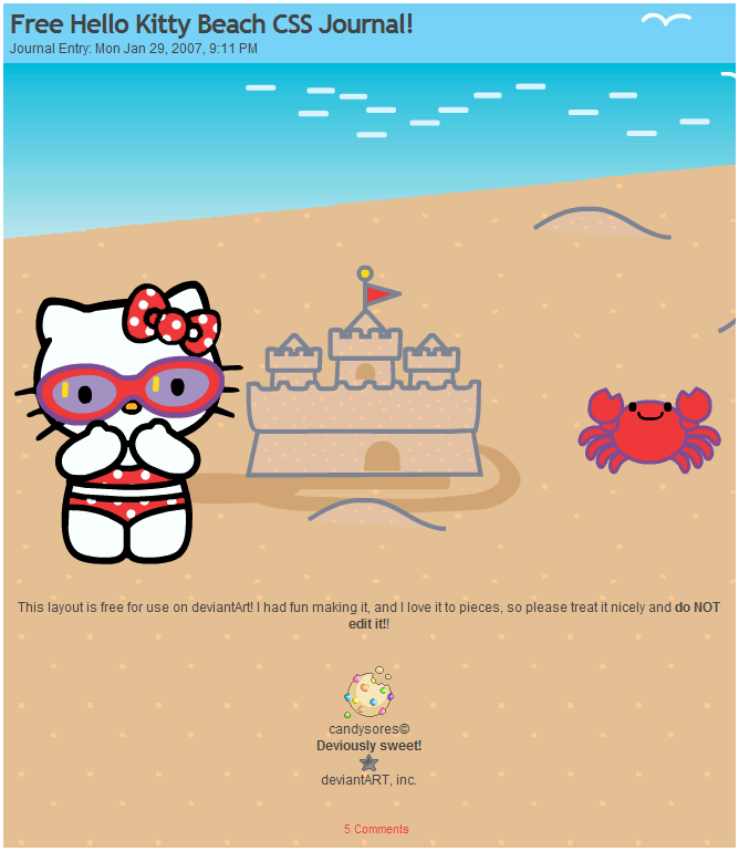 hello kitty at the beach colouring pages