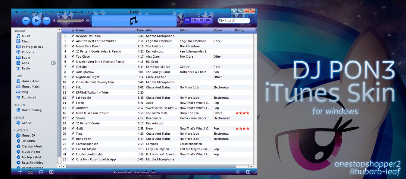 DJ PON3 iTunes Skin by SierraDesign