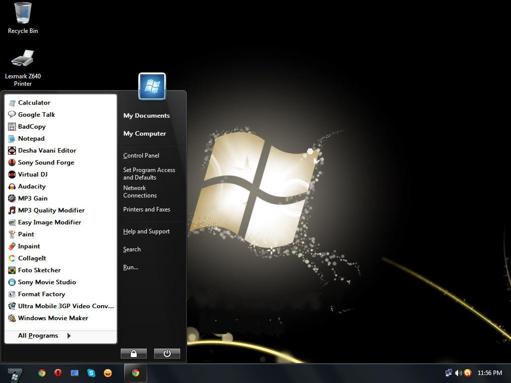 Windows 7 black vs for windows xp by tharunnamboothiri on for Window 07 themes