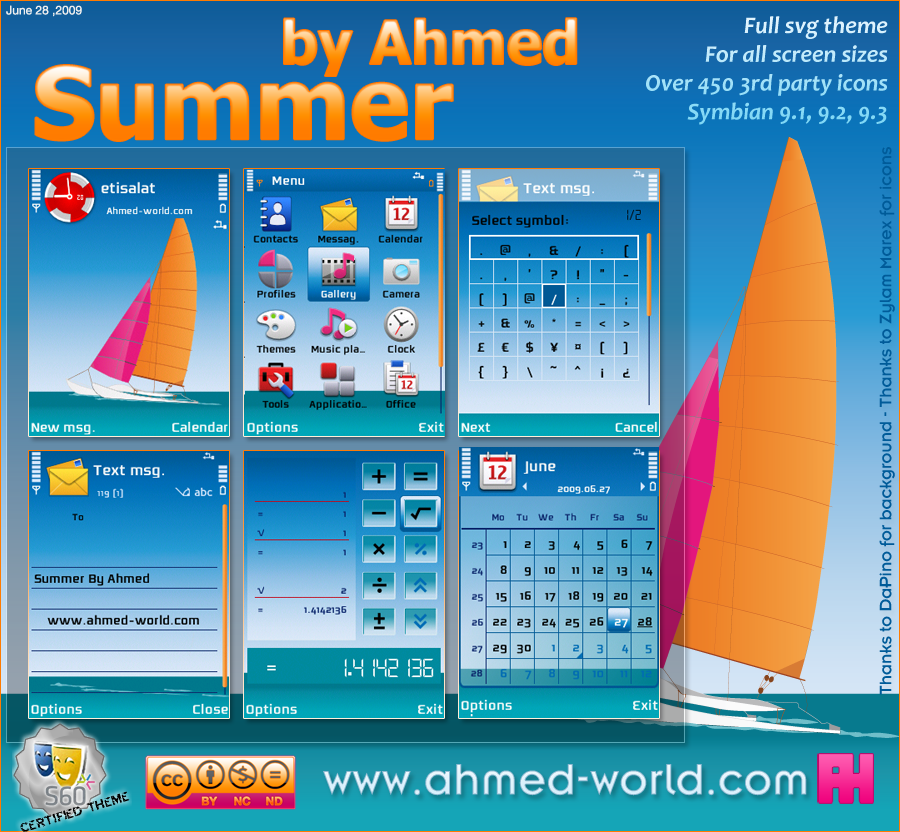 Summer By Ahmed by AhmedWorld - S�per Tema Ar�ivi Nokia Symbiam OS-9.X  (OS v9.1, 9.2, 9.3) Serileri ��in �n �zlemeli