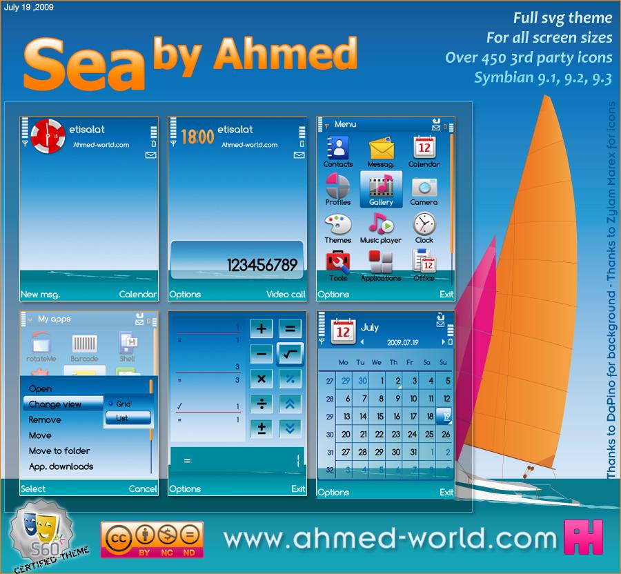 Sea by Ahmed by AhmedWorld - S�per Tema Ar�ivi Nokia Symbiam OS-9.X  (OS v9.1, 9.2, 9.3) Serileri ��in �n �zlemeli