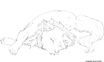 wolf free lineart