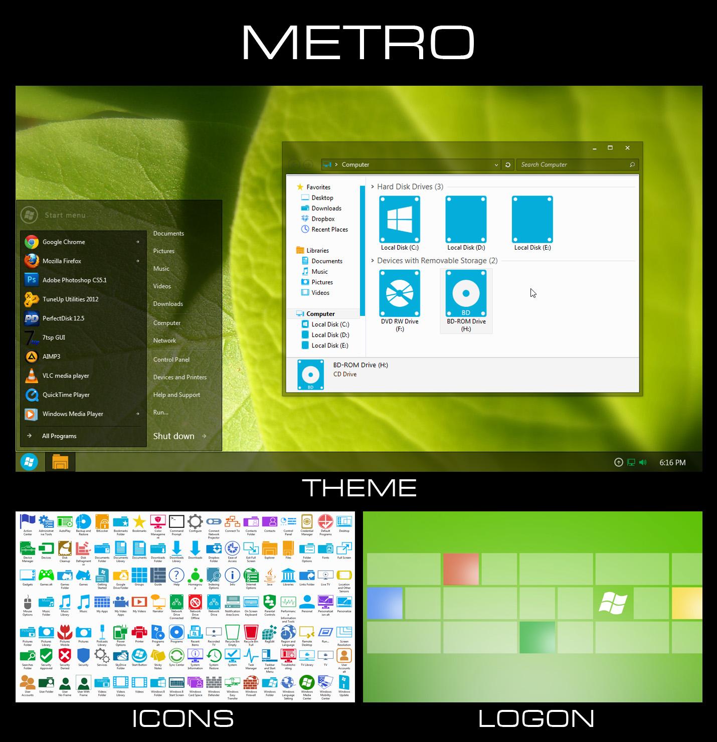 Metro - Windows 7 Transformation Pack by UltimateDesktops