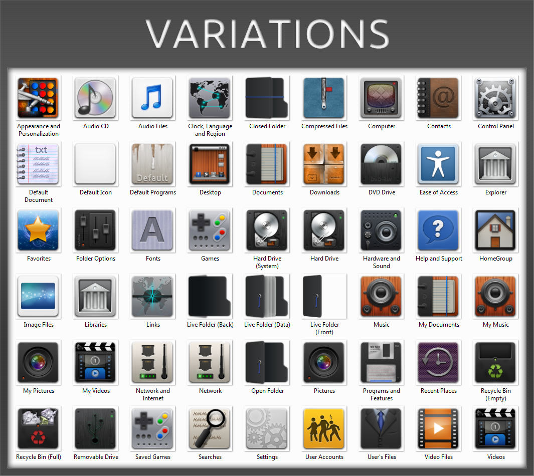 Variations Icon Pack Installer for Windows 7 by UltimateDesktops on