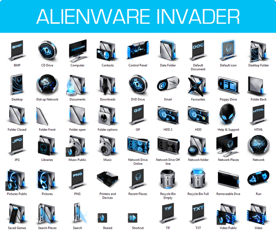 Alienware Invader Iconpack Installer for Windows 7 by UltimateDesktops