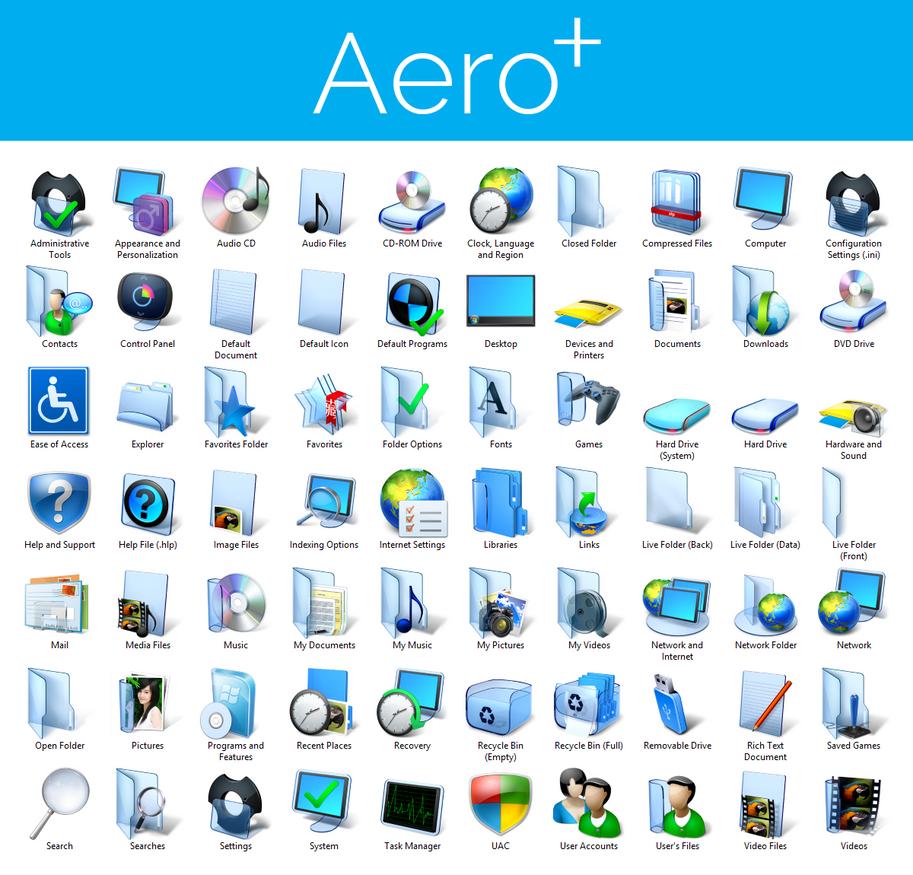 Aero+ Iconpack Installer for Windows 8/8 1 by UltimateDesktops on