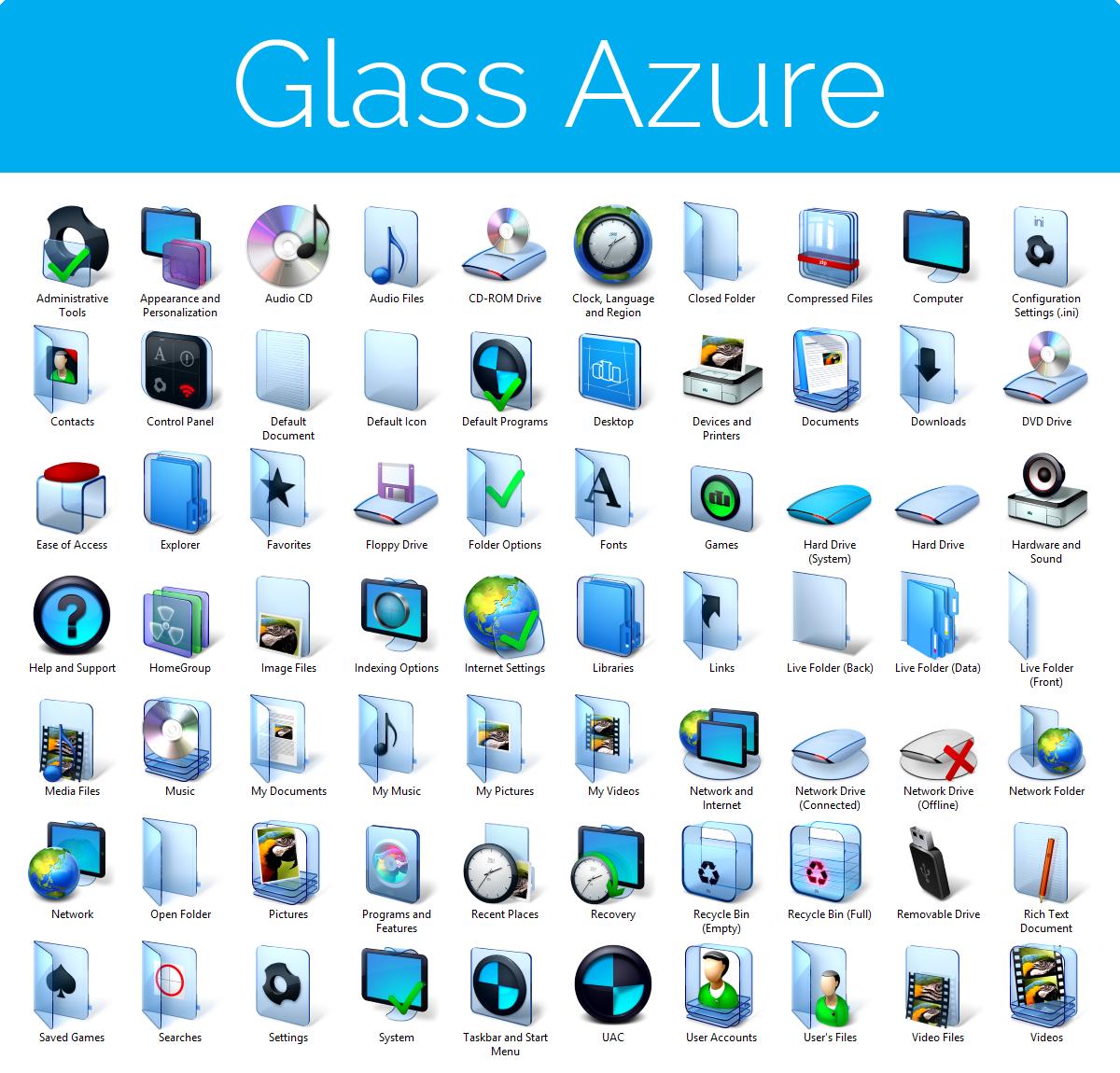 Aero Glass Azure Iconpack Installer for Win7/Win8 by UltimateDesktops