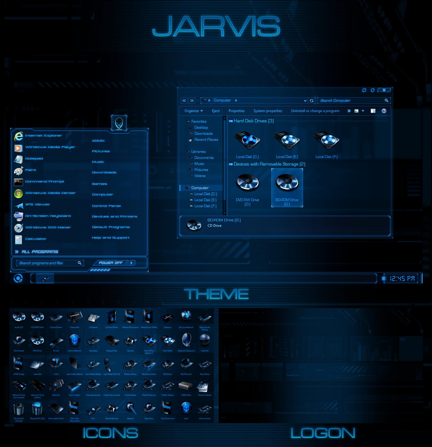 Animated 3d wallpaper jarvis interface -  Ultimatedesktops Jarvis Windows 7 Transformation Pack By Ultimatedesktops