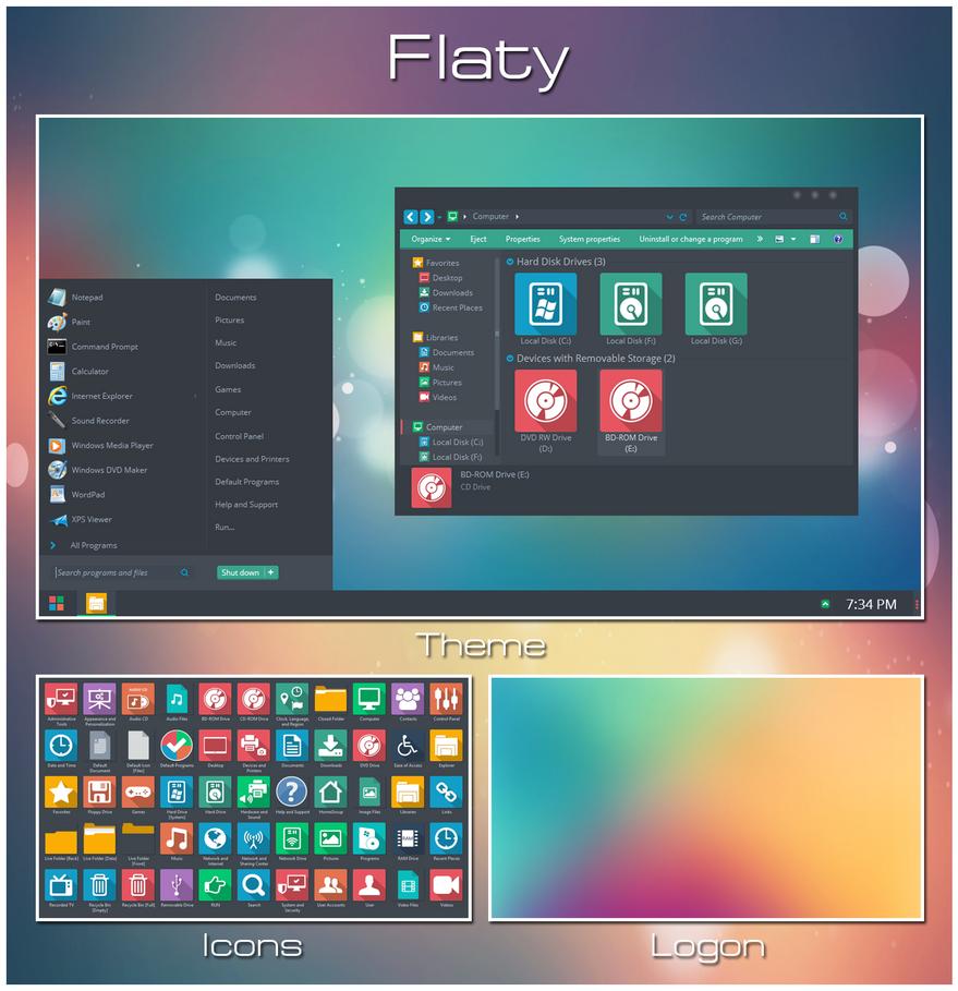 Flaty - Windows 7 Transformation Pack by UltimateDesktops