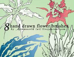 Hand drawn flower brushes
