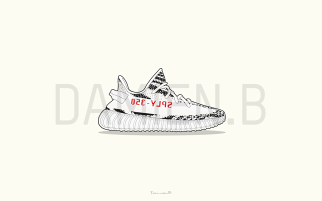 Sophia's 7th UA Yeezy 350 Boost V2 SPLY 350 Zebra White/Red