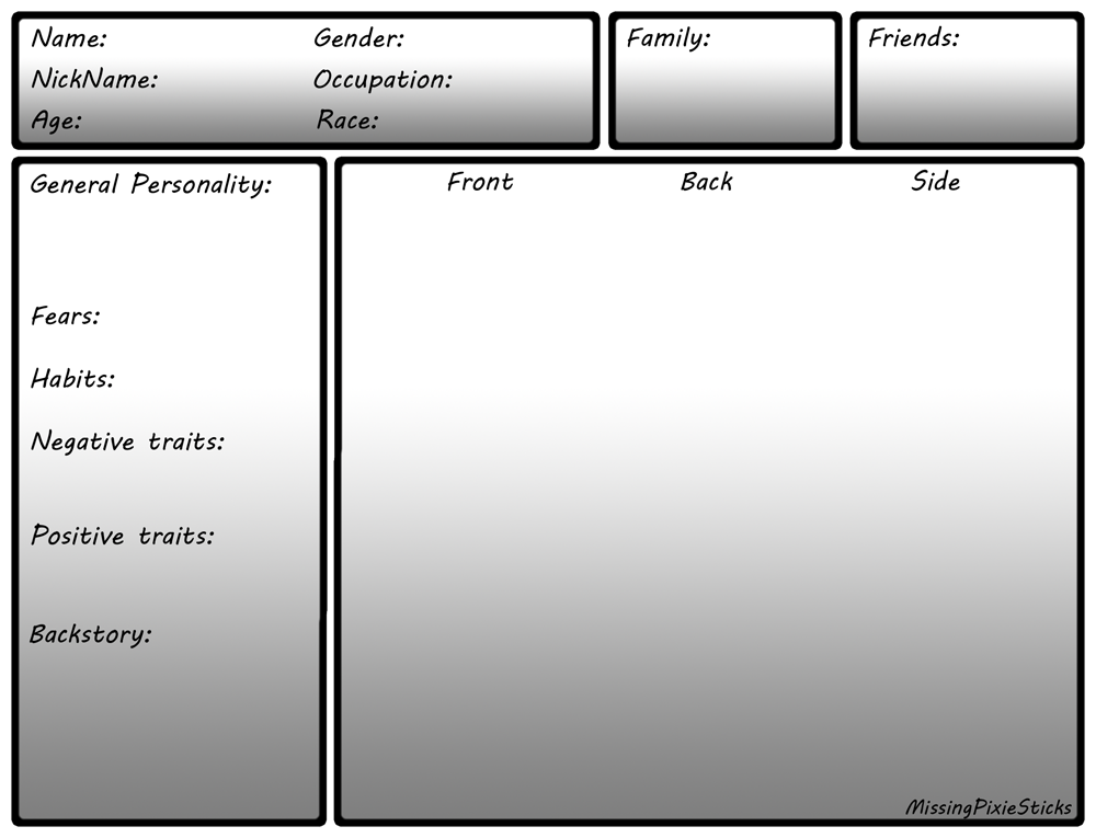 Character Design Template Deviantart : Character sheet template by missingpixiesticks on deviantart