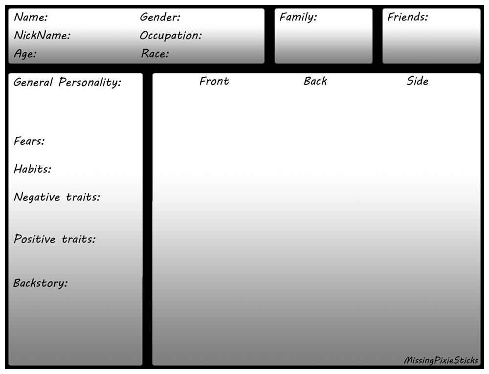 Character Sheet Template by MissingPixieSticks on DeviantArt