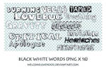 Black white words png 16