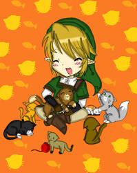 secretsanta: Link with kitties :3 by acua-chan