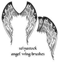 Ornate Angel Wing brushes by seiyastock