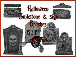 Halloween Tombstone Brushes by seiyastock
