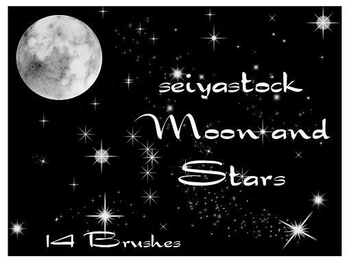 Moon and Stars photoshop brush by seiyastock