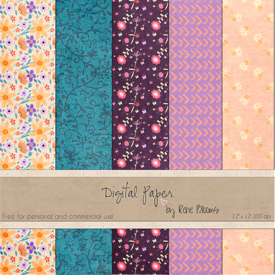 FREE Digital Paper by Rene Blooms by SunnyFunLane