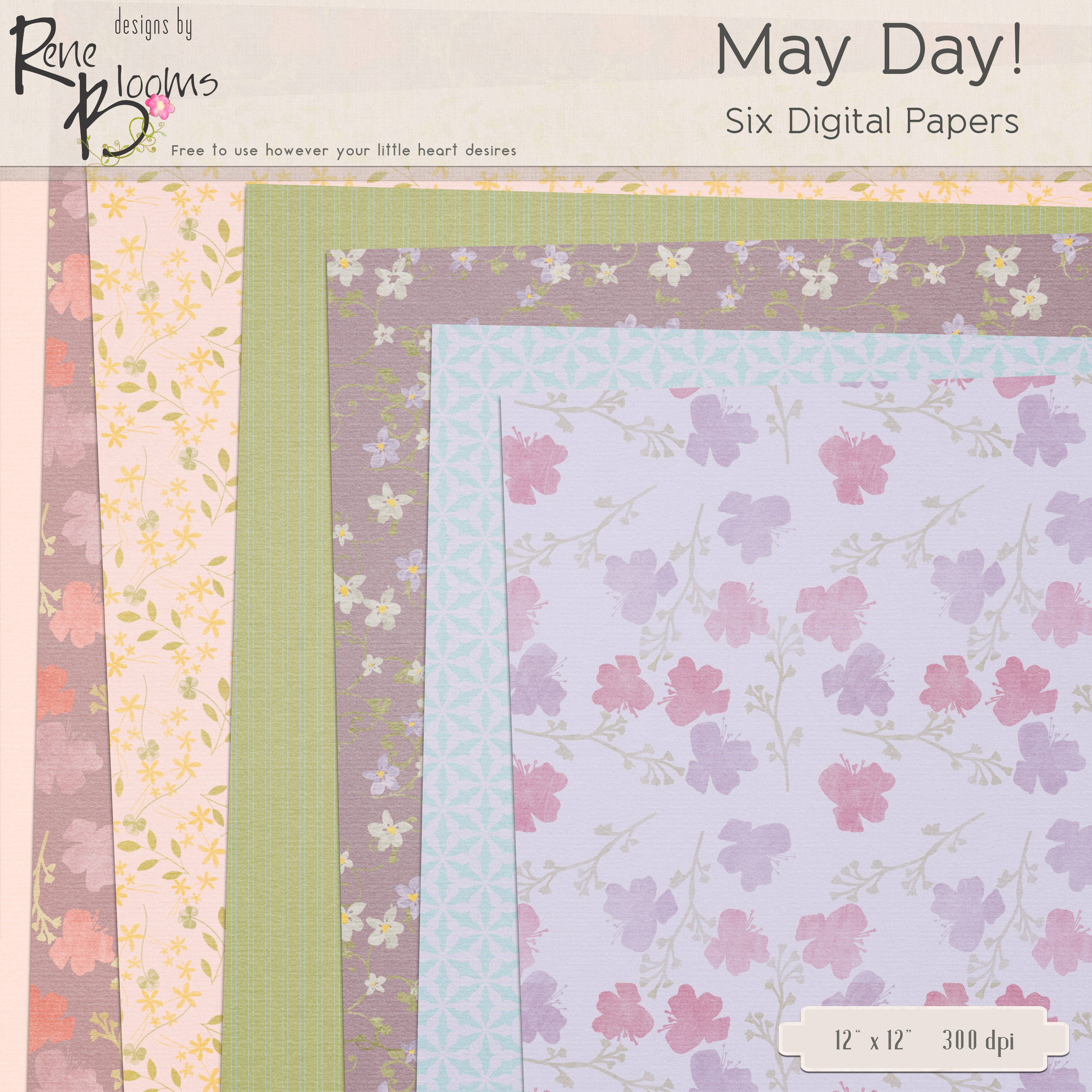 FREE Digital Paper Pack May Day by Rene Blooms