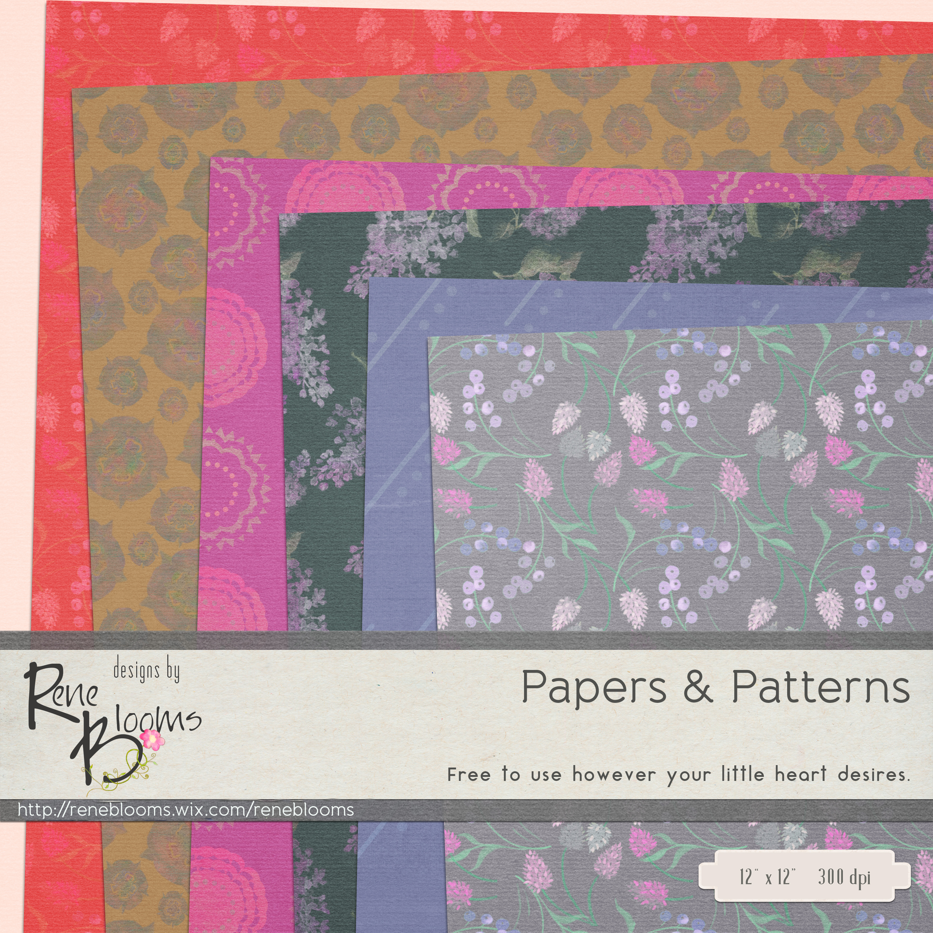 FREE Digital Paper Pack by Rene Blooms