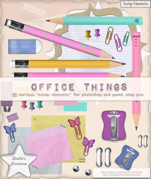 Office things - © Blog Stella's Creations: http://sc-artistanelcuore.blogspot.com