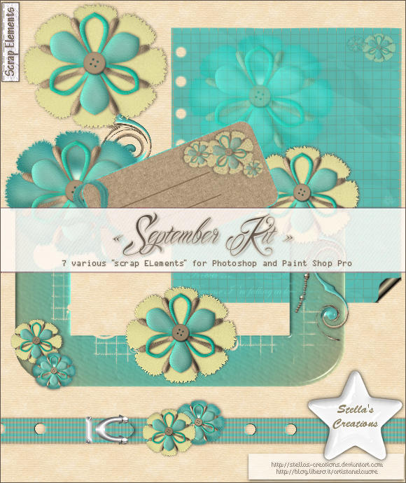 September Kit - © Blog Stella's Creations: http://sc-artistanelcuore.blogspot.com