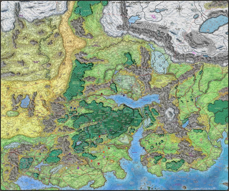 North Central Faerun map