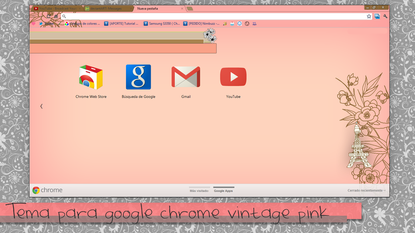 Theme Vintage Pink for Google chrome  by GirlCreativeVintage on