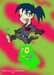 Kylie and Slimer Chibi by DANGERcomics