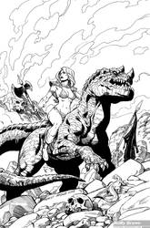 Red Sonja art for coloring
