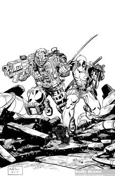 Cable Deadpool Lines for Coloring
