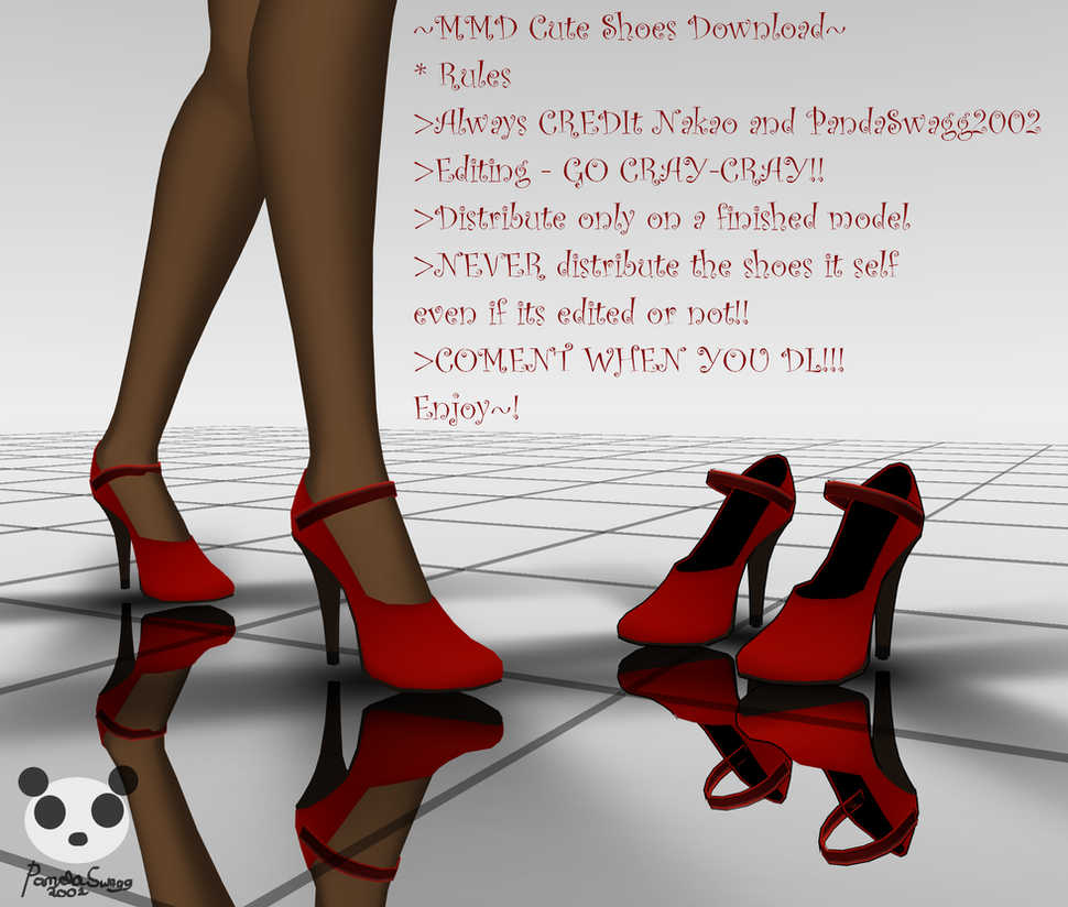 .:MMD - Cute Red Shoes Download:. by PandaSwagg2002
