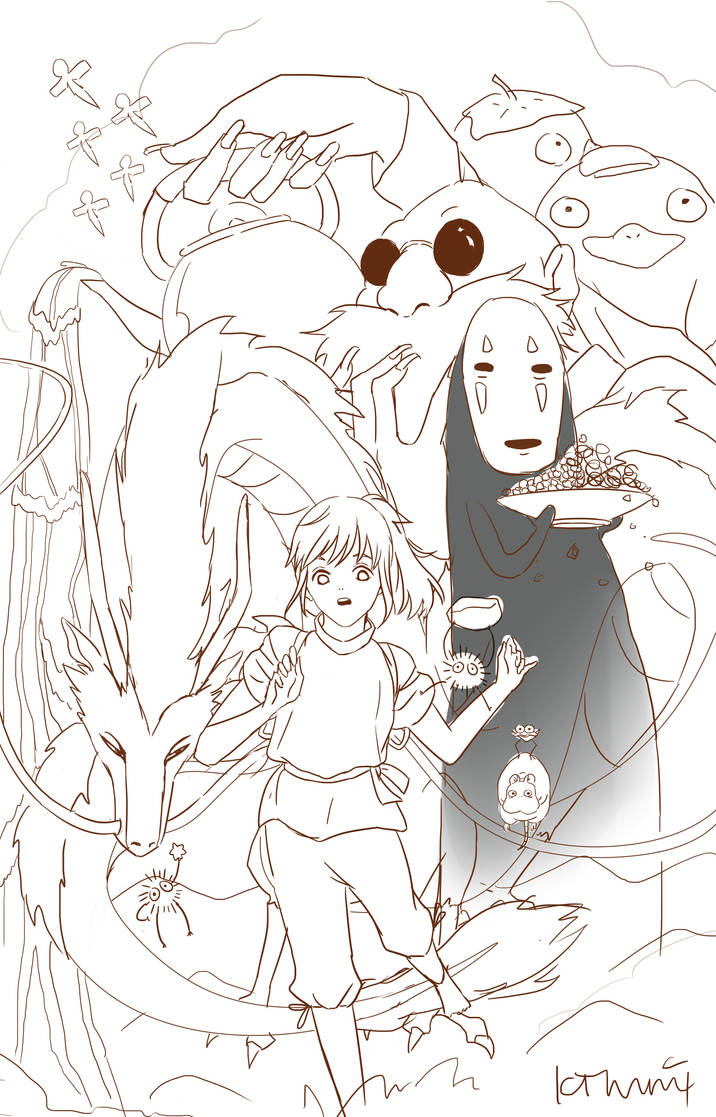 Spirited Away Lineart by kimmigawa