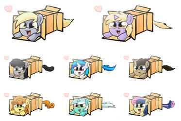 Pony Box Sprays (Background Ponys, transparent) by Quake-One