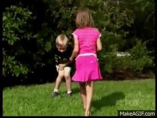 Girls kick guys in the balls