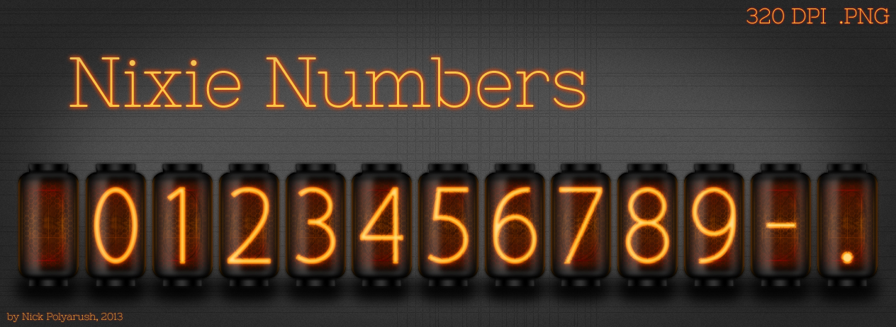 Nixie Tube Numbers [Resource] by NickPolyarush on DeviantArt