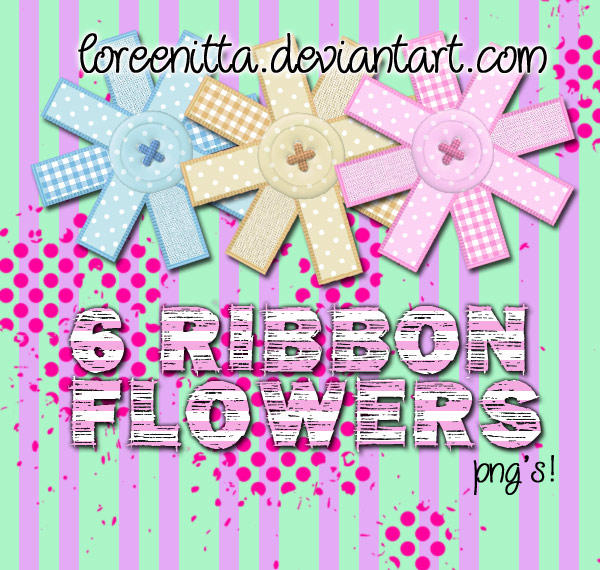 Ribbon Flowers png by Loreenitta